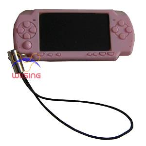 Silicon Decorated pendant-miniature PSP console pink colour
