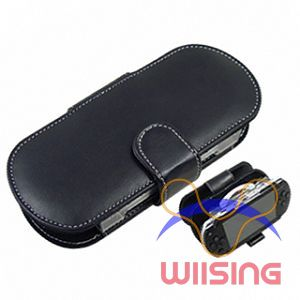 Horizontal - Leather Pouch for PSP (Black)